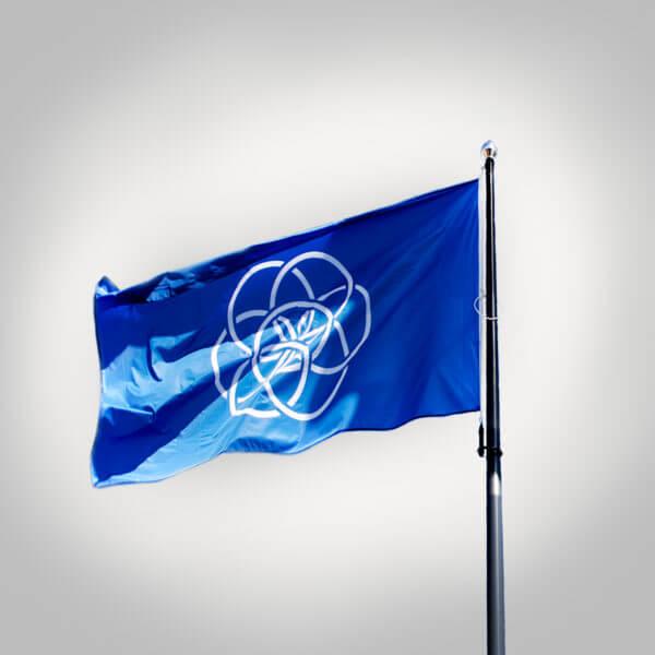 Planet Earth flagga mot grå bakgrund