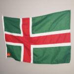 Småland landskapsflagga mot grå bakgrund
